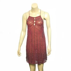 10783 Free People Sequin Sheer Tunic Mini Dress S